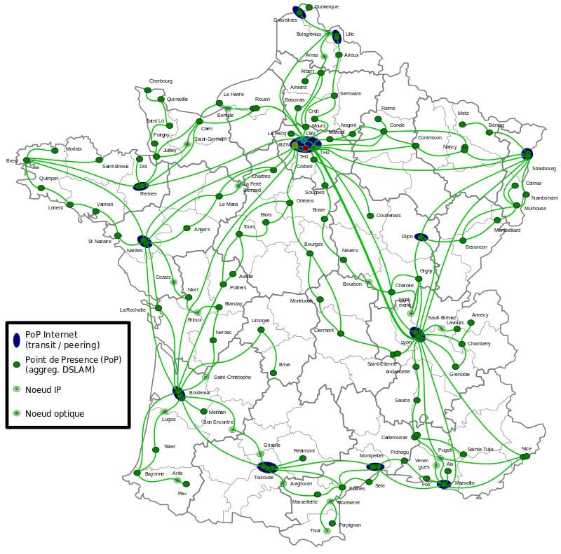carte réseau internet en france